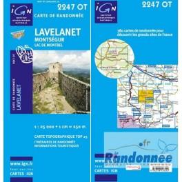 Carte de randonnée TOP25 IGN 2247OT LAVELANET Montségur