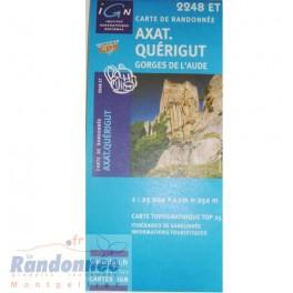 Carte de randonnée TOP25 IGN 2248ET AXAT.QUERIGUT Gorges de l'Aude