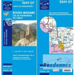 Carte de randonnée TOP25 IGN 2249OT BOURG-MADAME Col de Puymorens.Pic Carlit