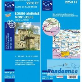 Carte de randonnée TOP25 IGN 225OET BOURG-MADAME.MONT-LOUIS