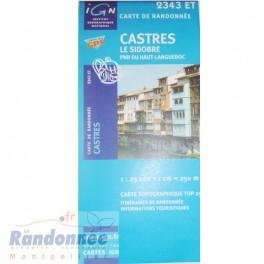 Carte de randonnée TOP25 IGN 2343ET CASTRE Le Sidobre PNR du Haut languedoc
