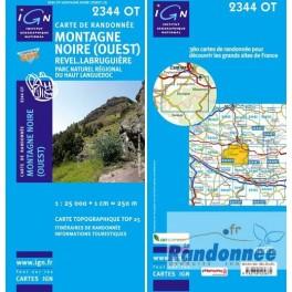 Carte de randonnée TOP25 IGN 2344OT MONTAGNE NOIRE OUEST Revel.Lbruguière PNR du Haut Languedoc
