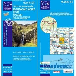 Carte de randonnée TOP25 IGN 2344ET MONTAGNE NOIRE EST Mazamet PNR du Haut-Languedoc