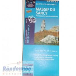 Carte de randonnée TOP25 IGN 2432ET MASSIF DU SANCY PNR des Volcans d'Auvergne