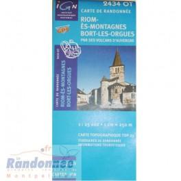 Carte de randonnée TOP25 IGN 2434OT RIOM-ES-MONTAGNES
