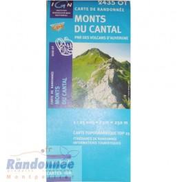 Carte de randonnée TOP25 IGN 2435OT MONTS DU CANTAL PNR des Volcans d'Auvergne