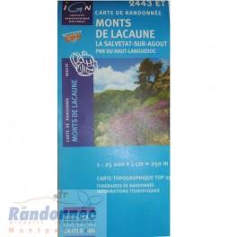 Carte de randonnée TOP25 IGN 2443ET MONTS DE LACAUNE PNR du Haut-Languedoc