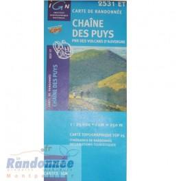 Carte de randonnée TOP25 IGN 2531ET CHAINE DES PUYS PNR des Volcans d'Auvergne