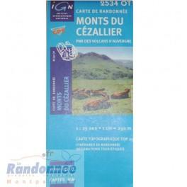 Carte de randonnée TOP25 IGN 2534OT MONT DU CEZALIERS PNR des Volcans d'Auvergne