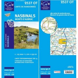 Carte de randonnée TOP25 IGN 2537OT NASBINALS Monts d'Aubrac