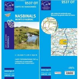 Carte de randonnée TOP25 IGN 2537OT NASBINALS Monts d'Aubrac