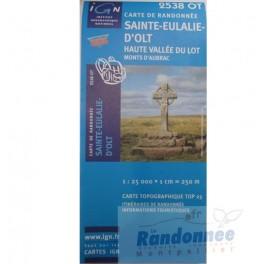 Carte de randonnée TOP 25 IGN 2538OT STE-EULALIE D'OLT Haute vallée du Lot..