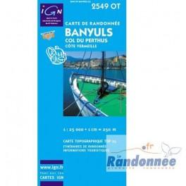 Carte de randonnée TOP25 IGN 2549OT BANYULS COL DU PERTHUS