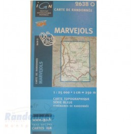 Carte de randonnée SERIE BLEUE IGN 2638O MARVEJOLS