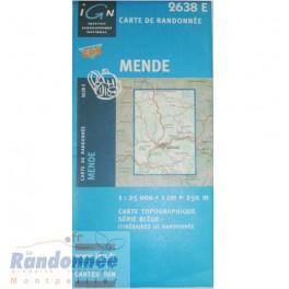 Carte de randonnée SERIE BLEUE IGN 2638E MENDE