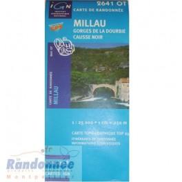 Carte de randonnée TOP25 IGN 2641OT MILLAU Gorges de la Dourbie