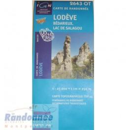 Carte de randonnée TOP25 IGN 2643OT LODEVE Lac du Salagou Bédarieux