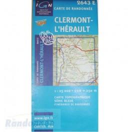 Carte de randonnée TOP 25 2643ETCLERMONT L'HERAULT