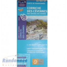 Carte de randonnée TOP25 IGN 2740ET CORNICHE DES CEVENNES Parc National des Cévennes