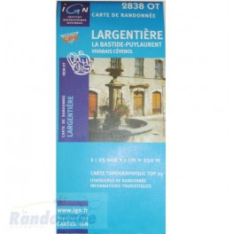 Carte de randonnée TOP25 IGN 2838OT LARGENTIERES