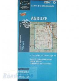 Carte de randonnée SERIE BLEUE IGN 2841O ANDUZE