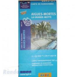 Carte de randonnée TOP25 IGN 2843OT AIGUES-MORTES La Grande-Motte