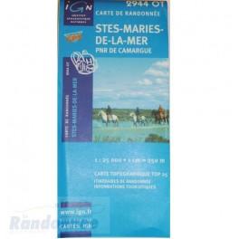 Carte de randonnée TOP25 IGN 2944OT STES-MARIES-DE-LA-MER PNR de Camargues
