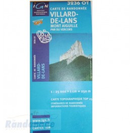 Carte de randonnée TOP25 IGN 3236OT VILLARD-DE-LANS PNR du Vercors
