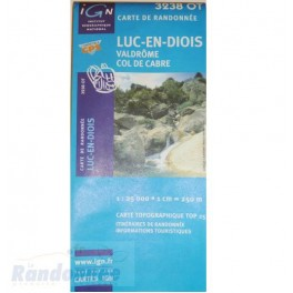 Carte de randonnée TOP 25 IGN 3238OT LUC-EN-DIOIS VALDROME