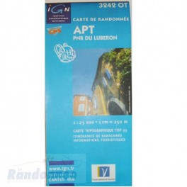 Carte de randonnée TOP25 IGN 3242OT APT PNR du Luberon