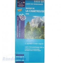 Carte de randonnée TOP25 IGN 3333OT MASSIF DE LA CHARTREUSE Nord