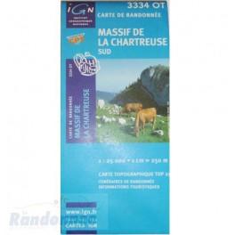 Carte de randonnée TOP25 IGN 334OT MASSIF DE LA CHARTREUSE Sud
