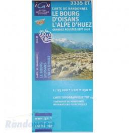 Carte de randonnée TOP25 IGN 3335ET LE BOURG D'OISANS L'ALPE D'HUEZ