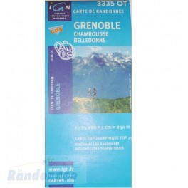 Carte de randonnée TOP25 IGN 3335OT GRENOBLE Chambrousse