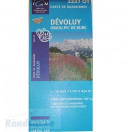 Carte de randonnée TOP25 IGN 3337OT DEVOLUY Obiou.Pic de Bure