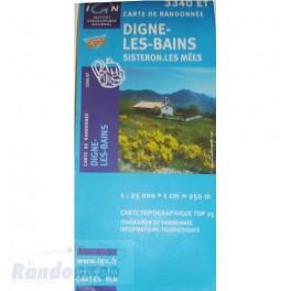 Carte de randonnée TOP25 IGN 3340ET DIGNES-LES-BAINS Sisteron
