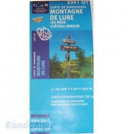 Carte de randonnée TOP25 IGN 3341OT MONTAGNE DE LURE Les Mées
