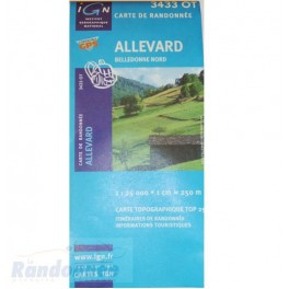 Carte de randonnée TOP25 IGN 3433OT ALLEVARD Belledonne Nord