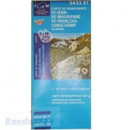 Carte de randonnée TOP25 IGN 3433ET ST-JEAN-DE-MAURIENNE Valmorel
