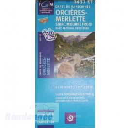 Carte de randonnée TOP25 IGN 3437ET ORCIERES MERLETTE