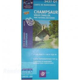 Carte de randonnée TOP25 IGN 3437OT CHAMPSAUR PN des Ecrins
