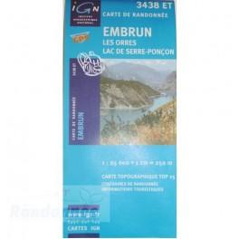 Carte de randonnée TOP25 IGN 3438ET EMBRUNS Les Orres