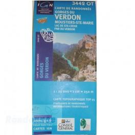 Carte de randonnée TOP25 IGN 3442OT GORGES DU VERDON PNR du Verdon