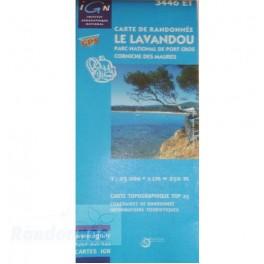 Carte de randonnée TOP25 IGN 3446ET LE LAVANDOU PN de Port Cros