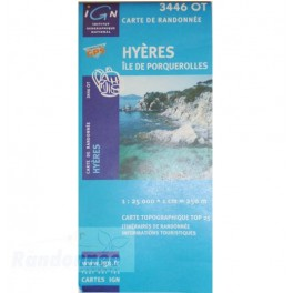 Carte de randonnée TOP25 IGN 3446OT HYERES Iles de Porquerolles