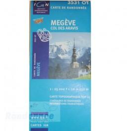 Carte de randonnée TOP25 IGN 3531OT MEGEVE Col des Aravis