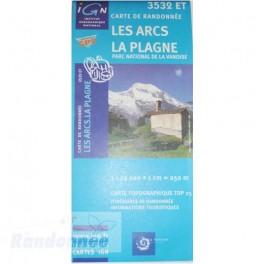 Carte de randonnée TOP25 IGN 3532ET LES ARCS LA PLAGNE PN de la Vanoise
