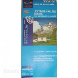 Carte de randonnée TOP25 IGN 3534OT TROIS VALLEES Modane PN de la Vanoise