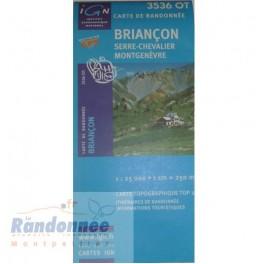 Carte de randonnée TOP25 IGN 3536OT BRIANCON Serre-Chevallier