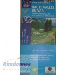 Carte de randonnée TOP25 IGN 3540ET HAUTE VALLEE DU VAR Gorges de Daluis